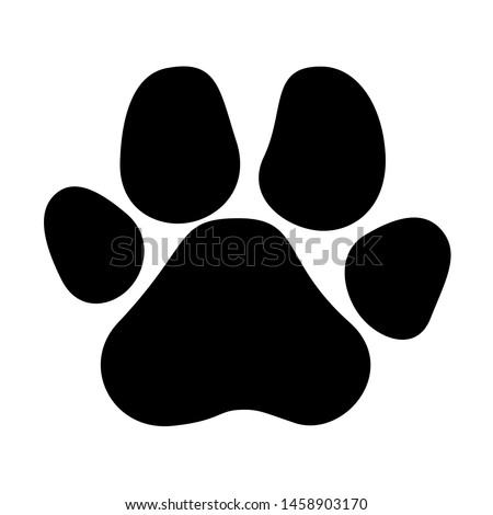 Paw prints icon in flat style. Black cat and dog animal paw. Footprints animals symbol for your web site design, logo, app, UI Vector EPS 10.