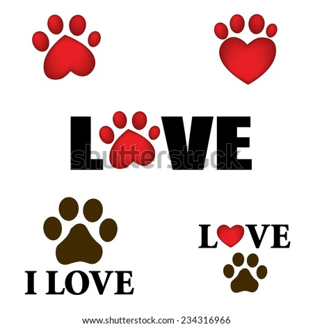paw prints with i love text