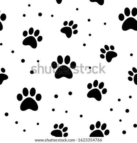 Paw seamless pattern. Puppy dog paws texture background. Pet prints.
