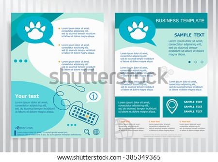 paw symbol on vector brochure