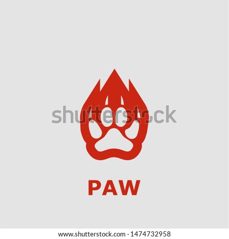 Paw symbol. Outline paw icon. Paw vector illustration for graphic art.