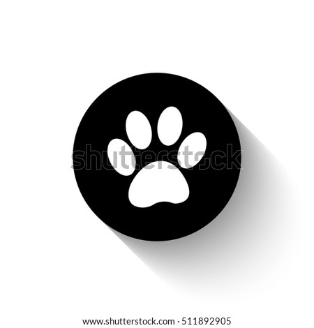 paw - white vector icon  with shadow