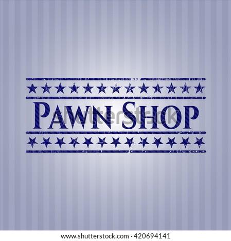 Pawn Shop emblem with denim high quality background