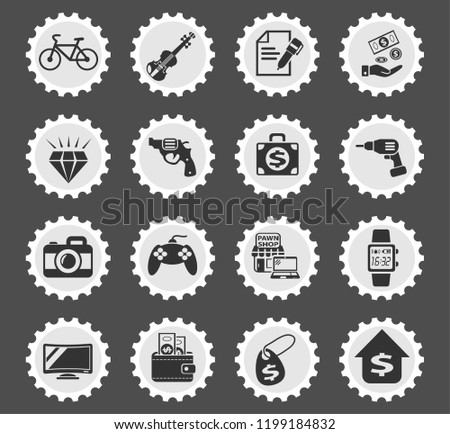 pawn shop web icons stylized postage stamp for user interface design