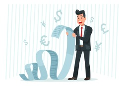 Pay big bill. Businessman holding long bill, shocked by payment amount and paying finance bills cartoon vector