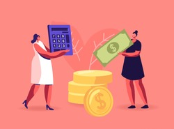 Pay Check, Salary Income, Financial Success Concept. Women Collecting, Saving Money. Female Characters Carry Dollar Banknote and Coins Counting Budget on Calculator. Cartoon People Vector Illustration