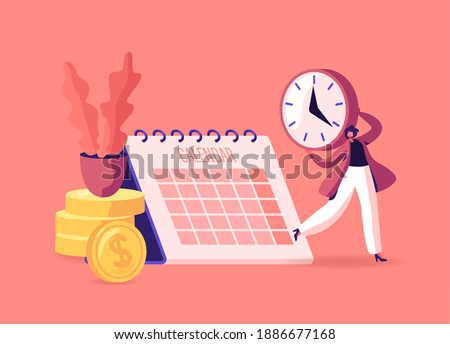 Pay Check, Salary or Payroll Concept. Tiny Businesswoman Character with Clock in Hands Stand near Golden Coins Piles and Huge Calendar Rejoice for Money Payment Earning, Cartoon Vector Illustration