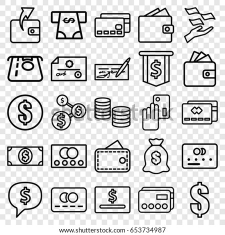 Pay icons set. set of 25 pay outline icons such as credit card, atm money withdraw, wallet, money on hand, dollar, wallet, creadit card payment #653734987