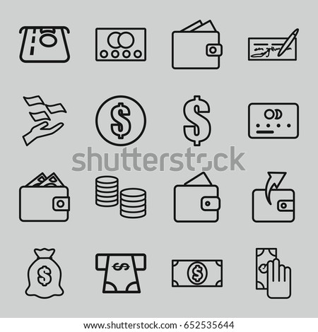 Pay icons set. set of 16 pay outline icons such as credit card, wallet, atm money withdraw, wallet, money on hand, dollar, cash payment