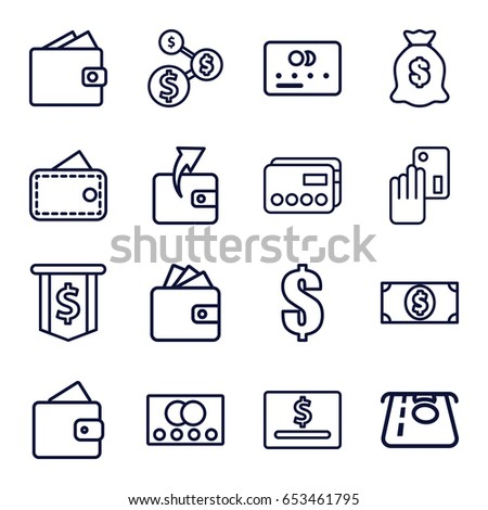 Pay icons set. set of 16 pay outline icons such as credit card, wallet, atm money withdraw, wallet, money sack, money dollar, dollar #653461795