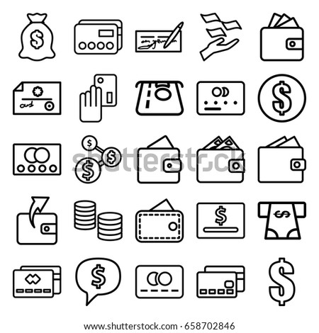 Pay icons set. set of 25 pay outline icons such as credit card, wallet, atm money withdraw, wallet, money on hand, dollar, creadit card payment, dollar sign in cloud #658702846