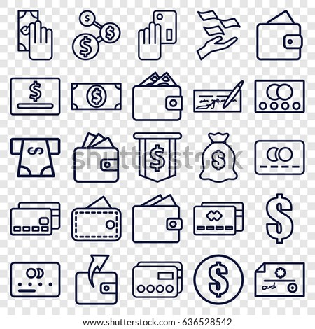 Pay icons set. set of 25 pay outline icons such as credit card, wallet, wallet, money on hand, atm money withdraw, dollar, cash payment, creadit card payment #636528542