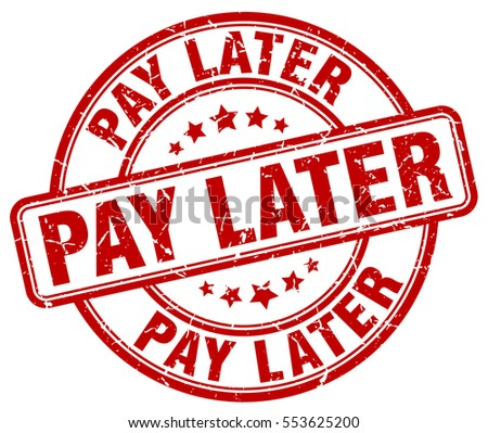 pay later stamp red round