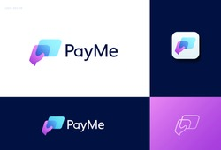 Pay me logo design with hand holding a card, concept of credit card, crypto wallet, fast online payment
