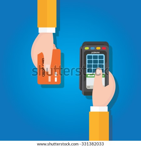 pay merchant hands credit card flat vector illustration payment edc electronic data capture transaction point of sales pos
