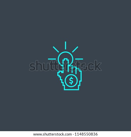 pay per click concept blue line icon. Simple thin element on dark background. pay per click concept outline symbol design from Online Business set. Can be used for web and mobile UI/UX