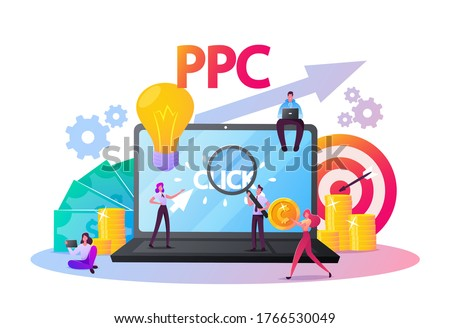 Pay Per Click Concept. Tiny Characters at Huge Computer Desktop with Cursor Clicking on Ad Button. Ppc Business, Cpc Advertising Technology, Sponsored Listing. Cartoon People Vector Illustration