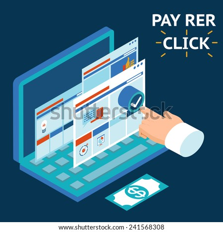 Pay per click, infographics illustration. Touch your finger to the screen of a laptop #241568308