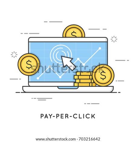 Pay per click, internet marketing. Flat line art style concept. Vector banner, icon, illustration. Editable stroke.