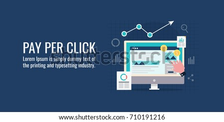 Pay per click, search marketing, paid advertising, on-line ads flat vector banner illustration isolated on dark background