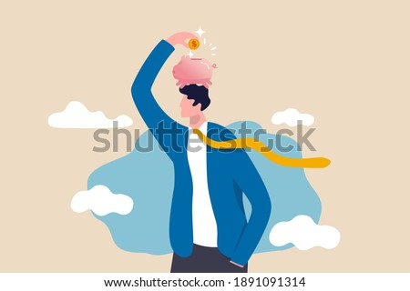 Pay yourself first, invest in yourself, take money for personal savings before pay for debt or buy and spending concept, smart young adult man putting money dollar coins into piggy bank on his head.