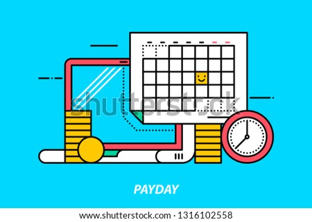 Payday. Colorful illustration on bright cyan background. Modern outline style.