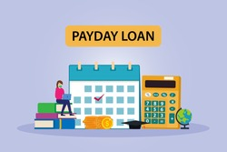 Payday loan text vector concept: Young woman sitting with laptop and payday loan text while wearing face mask in new normal