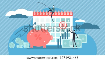 Payday loans vector illustration. Flat tiny persons concept with small, short-term unsecured loan for money problems situations. Bank service for temporary income budget crisis till monthly salary.