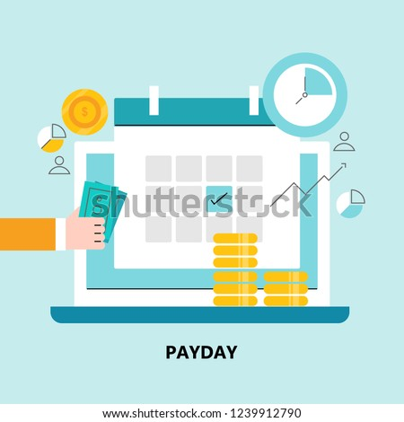 Payday, payday calendar, loan flat square icon vector illustration with icons