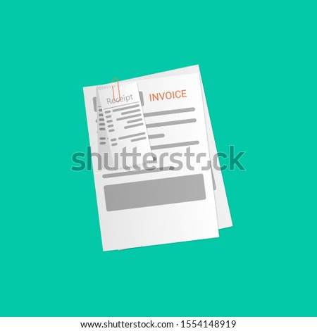 Paying bills. Check invoices. Vector illustration in flat style