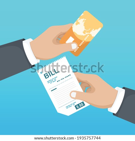 Paying bills. Payment of goods, service, utility, restaurant. Hand with bill and credit card. Illustration sales shopping check, receipt, invoice, order. Vector design in a flat style Foto stock ©