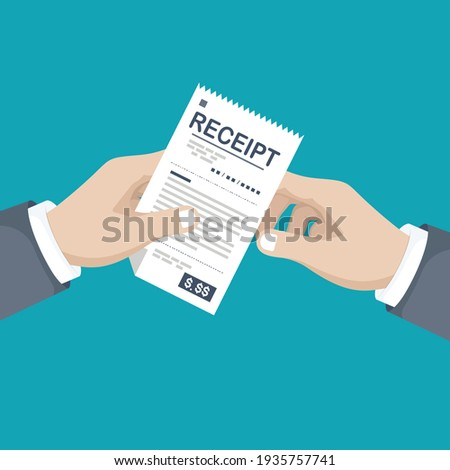 Paying bills. Payment of goods, service, utility, restaurant. Hand with bill. Illustration sales shopping check, receipt, invoice, order. Vector design in a flat style Foto stock ©