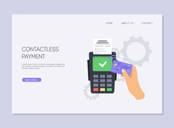 Paying using contactless credit card and payment terminal.  Wireless bank payment by debit or credit card and POS terminal. NFC payments concept.