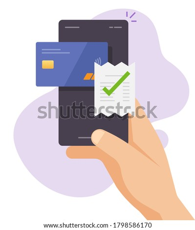 Payment bill online invoice vector via mobile phone smartphone credit bank card using flat style, person mancellphone wireless electronic digital paying concept, transaction receipt icon Photo stock ©