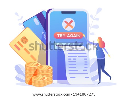 Payment filed, error, try again.Online Card Payment Concept ,Easy Payments with People Characters. Easy Edit and Customize, Money transfer, Mobile Wallet concept for banner, mobile app, landing page,