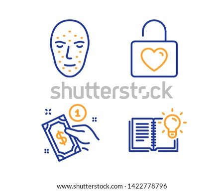 Payment method, Face biometrics and Wedding locker icons simple set. Product knowledge sign. Give money, Facial recognition, Valentines day. Education process. Linear payment method icon. Vector