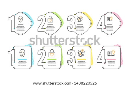 Payment method, Face biometrics and Wedding locker icons simple set. Product knowledge sign. Give money, Facial recognition, Valentines day. Education process. Infographic timeline. Vector