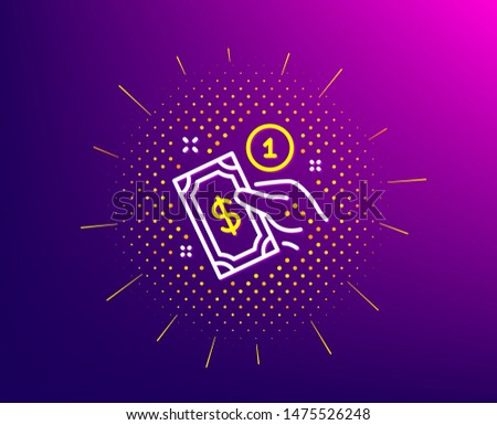 Payment method line icon. Halftone pattern. Give cash money sign. Gradient background. Payment method line icon. Yellow halftone pattern. Vector