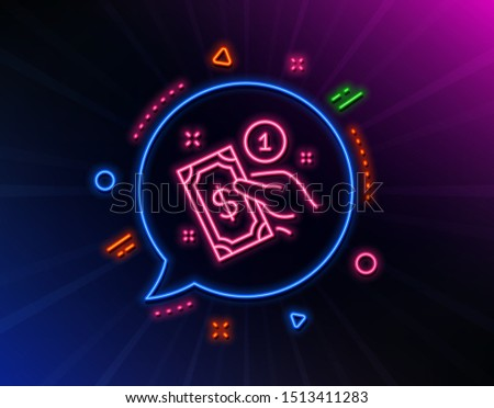 Payment method line icon. Neon laser lights. Give cash money sign. Glow laser speech bubble. Neon lights chat bubble. Banner badge with payment method icon. Vector