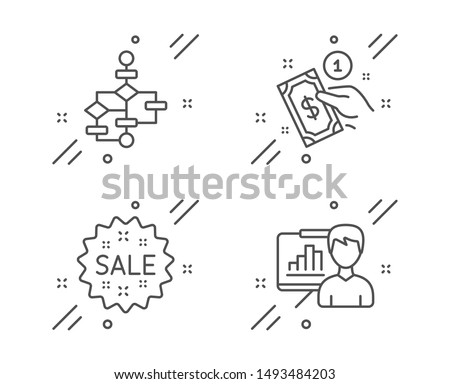 Payment method, Sale and Block diagram line icons set. Presentation board sign. Give money, Shopping star, Algorithm path. Growth chart. Finance set. Line payment method outline icon. Vector