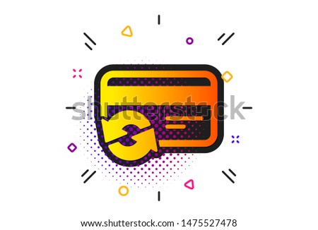 Payment method sign. Halftone circles pattern. Change credit card icon. Classic flat change card icon. Vector
