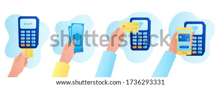payment methods: by credit card through the POS terminal, cash, contactless payment, payment by smartphone app. vector flat illustration. concept of online payment, banking, and electronic money
