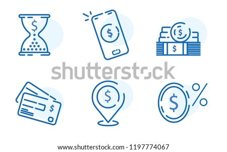 Payment methods, financial items set, zero percent commission fee, credit card money transaction, payment installment plan, vector mono line icons. Online payment with mobile. Transaction concept