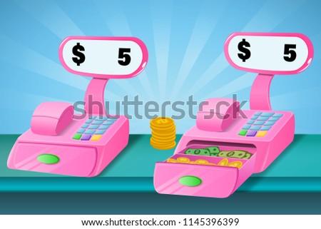 Payment methods Game design concept with money cash register isolated vector illustration Cashier Machine with sun rays background
