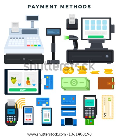 Payment methods. Icons, illustrating ways of payment. Different payment tools, cash register, payment terminal, cash, coins, computer, wallet, credit cards, isolated on white. Vector illustration.