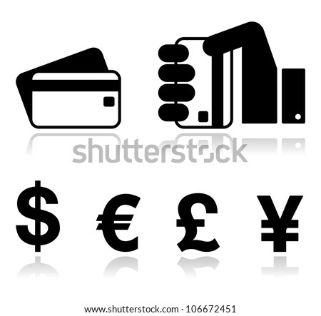 Payment methods icons set - credit card, by cash - currency, hand holding card.