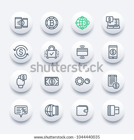 Payment methods, internet banking, worldwide online money transfer service line icons set
