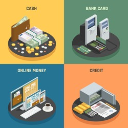 Payment methods 4 isometric icons square with cash credit bank cards and online transactions isolated vector illustration