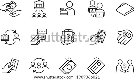 Payment Methods Thin Line Icons vector design Stockfoto ©