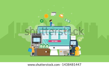Payment Methods Tiny People Character Concept Vector Illustration, Suitable For Wallpaper, Banner, Background, Card, Book Illustration, Web Landing Page, and Other Related Creative